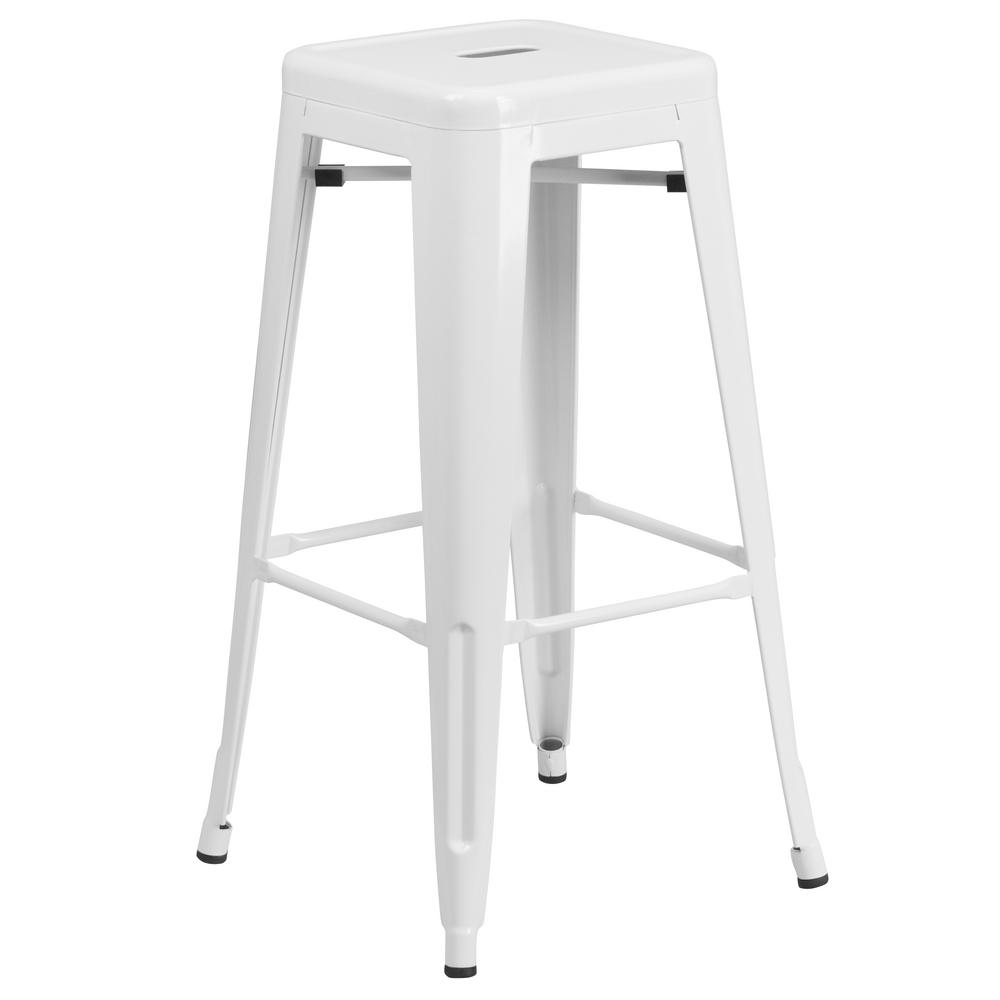30'' High Matte White Stool