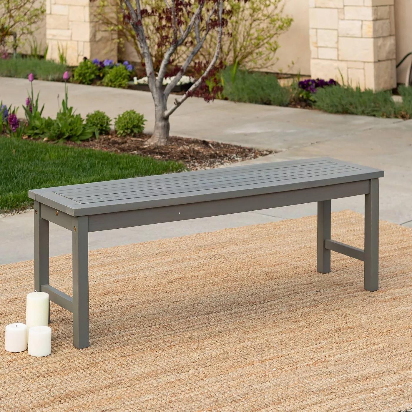 Grey Acacia Wood Patio Bench
